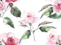 草本美好的明亮的典雅的美妙的五颜六色的嫩柔和的桃红色的春天上升了与芽,并且绿色叶子仿造水彩ha 皇族释放例证