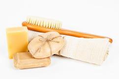草本肥皂和集合温泉治疗 库存图片