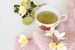 草本蜂蜜柠檬健康饮料heralth喜欢喉咙痛 免版税库存照片
