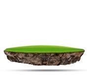绿草浮动海岛在岩石抽象背景背景的土地利用调遣 免版税库存图片