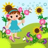 草甸动画片的小女孩 库存图片