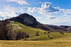草甸和小山, Homolje山在一个晴天在早期的春天环境美化 图库摄影