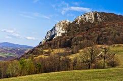 草甸和小山, Homolje山在一个晴天在早期的春天环境美化 库存照片