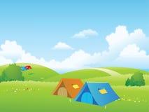草甸帐篷 向量例证