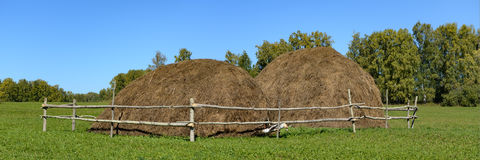 草甸的两个干草堆 库存图片