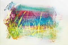 草甸的梦想和抽象图象有绿色年轻草的 与水彩刷子冲程纹理的两次曝光作用 库存照片