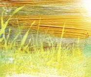 草甸的梦想和抽象图象有绿色年轻草的 与水彩刷子冲程纹理的两次曝光作用 免版税库存照片