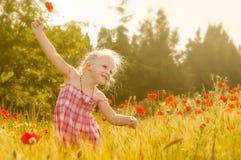 草甸的美丽的小女孩 免版税库存照片