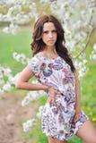 草甸的美丽的新深色的妇女 免版税库存图片