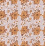 草甸花纹花样在橙色树荫下 无缝的模式 皇族释放例证