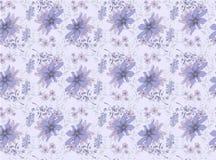 草甸花纹花样在紫色树荫下 无缝的模式 库存例证
