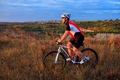 草甸足迹的骑自行车者 库存图片