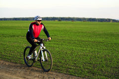 草甸足迹的骑自行车者 免版税库存图片
