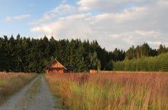 草甸,背景原木小屋的 库存照片