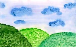 草甸水彩 向量例证