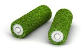 从草的两个AA电池 免版税图库摄影