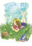 草的女孩 五颜六色的例证 拉长的例证 6月 夏天 库存图片