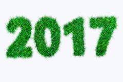 2017年从绿草的字母表数字在白色背景 免版税库存照片
