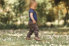 绿草的小男孩 免版税库存照片