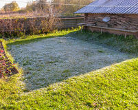 草的弗罗斯特在第一夜霜以后 免版税图库摄影