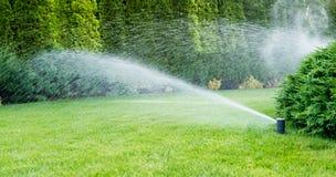 绿草的灌溉与洒水装置的 免版税库存图片