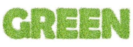 从绿草的词绿色 库存图片