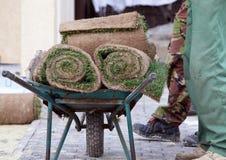 草皮堆为安装新的草坪和两工作者滚动在独轮车旁边有草皮卷的  图库摄影