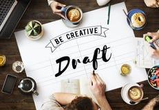 草稿图纸创造性的设计图内部概念 免版税库存照片