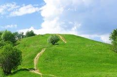 草绿色小山 库存照片
