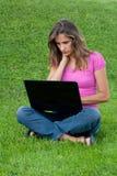 草膝上型计算机妇女 免版税库存照片