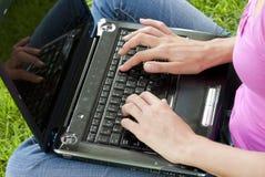 草膝上型计算机妇女 免版税图库摄影