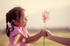 给草花的愉快的亚裔小女孩她的母亲 库存图片
