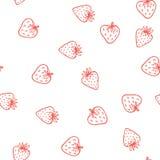 草莓传染媒介无缝的样式 逗人喜爱鲜美 免版税库存照片