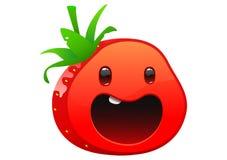 草莓可口水多的明亮的动画片面孔 库存图片