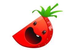 草莓可口水多的明亮的动画片面孔 免版税库存图片