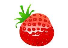 草莓可口水多的明亮的动画片 免版税图库摄影