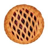 草莓和在白色隔绝的大黄饼 免版税库存图片