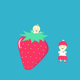 草莓和孩子 免版税库存图片