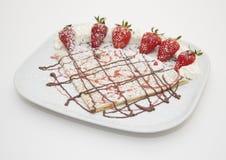 草莓和巧克力绉纱 图库摄影