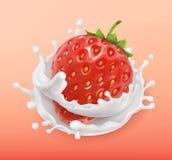 草莓和牛奶飞溅 果子和酸奶 3d图标向量 免版税库存照片