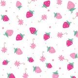 草莓和花传染媒介背景 库存图片