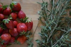 草莓和草本 免版税库存照片