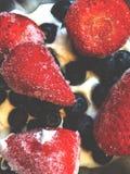 草莓和蓝莓在酸奶 免版税库存图片