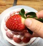 草莓和蛋糕 库存图片