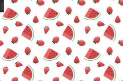 草莓和西瓜无缝的传染媒介样式 免版税库存图片
