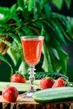 草莓和黄瓜利口酒,在绿色背景 免版税库存图片