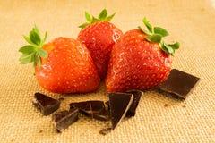 草莓和黑暗的巧克力在纺织品背景 免版税库存照片