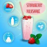 草莓圆滑的人奶昔食谱海报印刷品 库存图片