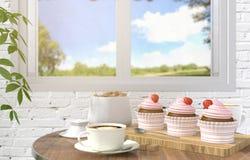 草莓在桌上的杯形蛋糕点心用早晨咖啡在被弄脏的白色砖室背景中 免版税库存照片