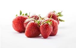 草莓在白色背景的演播室 库存图片